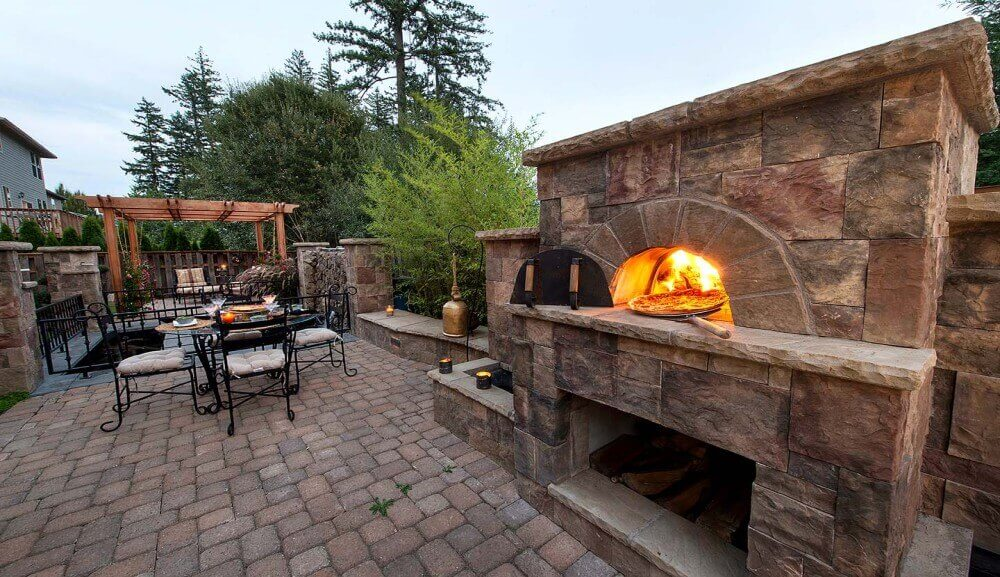 outdoor fireplace and pizza oven combination plans