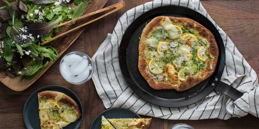 Meyer Lemon Pizza with Brussels Sprouts